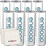8er Pack Panasonic Eneloop AA/Mignon Akkus - Neueste Generation - Hochleistungs Akku Batterien in...