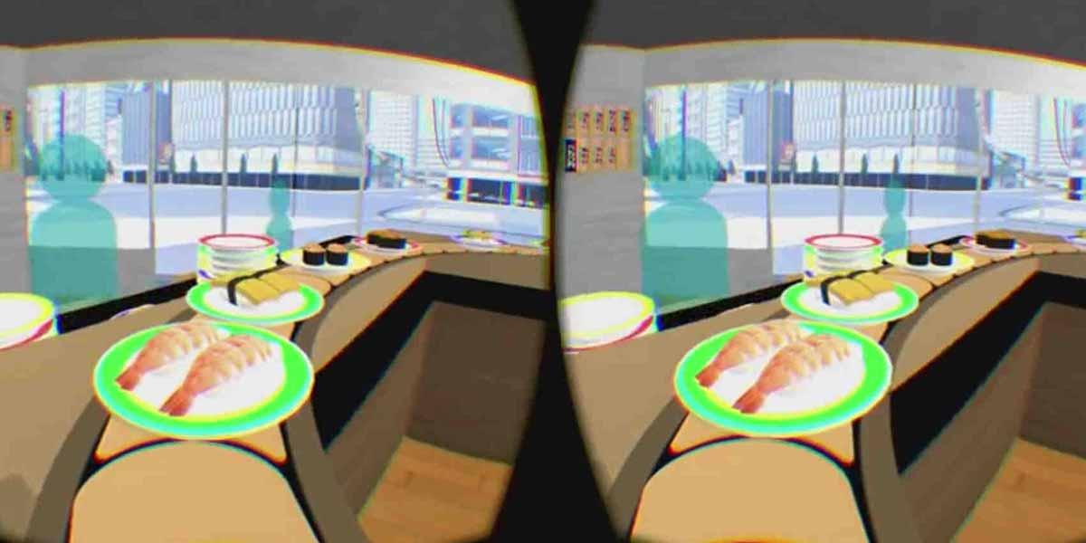 Virtual Reality Trip auf dem Sushi Band beim Rolling-Sushi