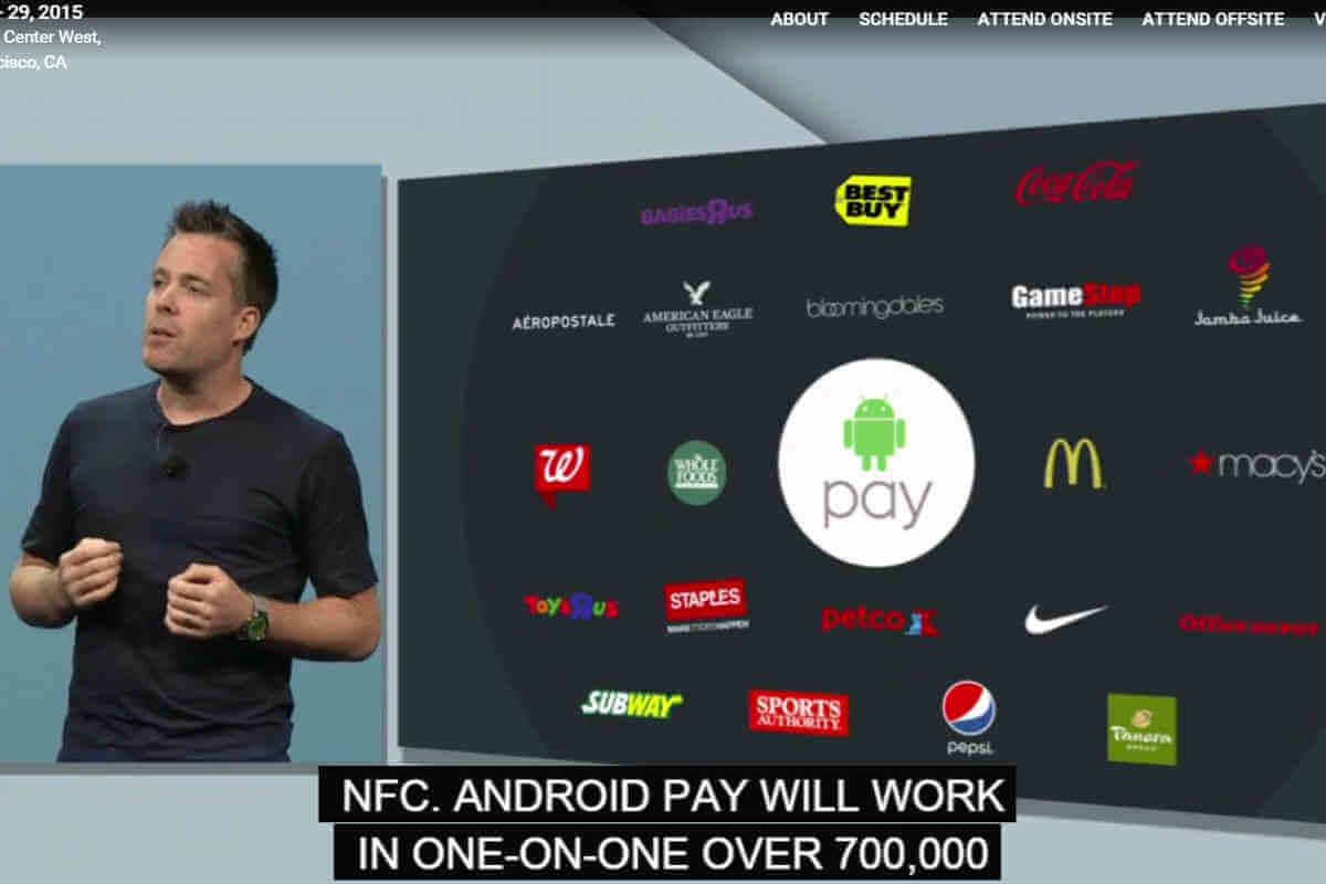 Andorid Pay wird in Amerika bald mehr als eine Idee sein. In den abgebildeten Geschäften ist diese Zahlungsart bereits möglich.