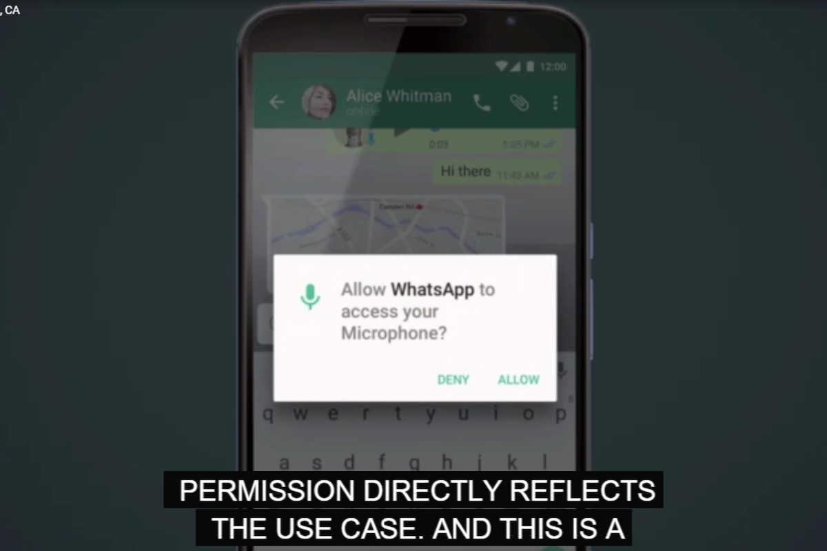 Whats App Beispiel für den neuen Datenschutz von Android M auf der I7O 2015.