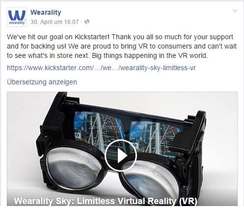 Facebook-Post von Wearality zum erreichten Goal bei Kickstarter.