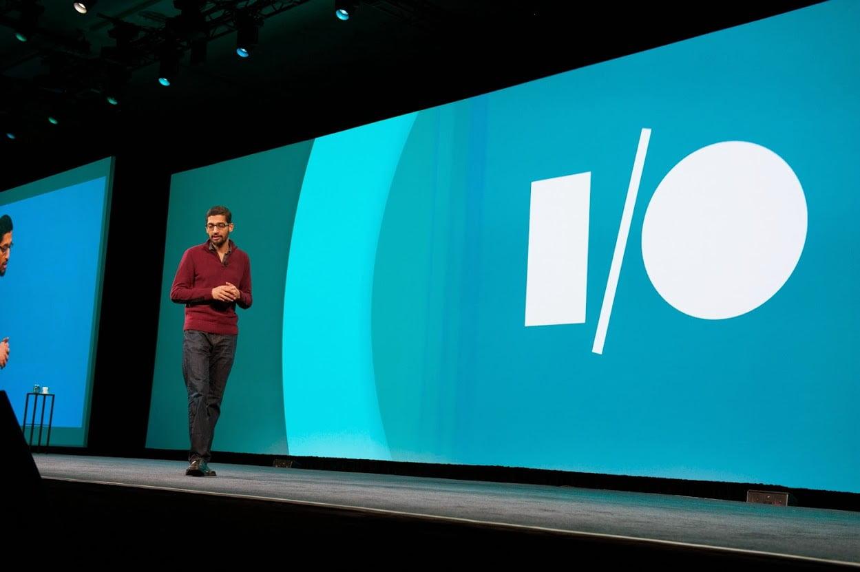 Senior Vice-President of Products, Sundar Pichai auf der Keynote der Entwicklerkonferenz I/O 2014 von Google.