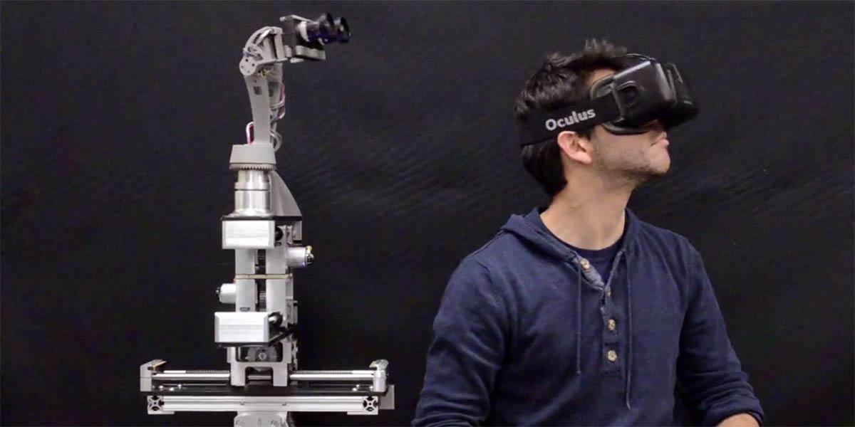 Die Kopfbewegungen von Roboter DORA lassen sich über die VR-Brille Oculus Rift fernsteuern