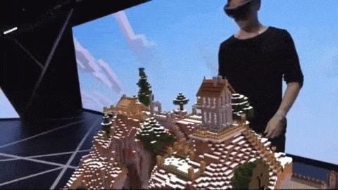 Auf der Pressekonferenz von Microsoft auf der E3 in los Angeles präsentierte das Unternehmen Micecraft mit der Datenbrille HoloLens.