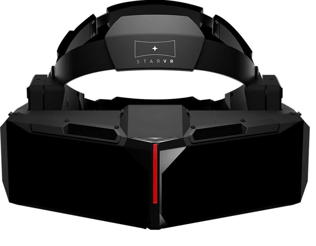 Die VR-Brille StarVR des Unternehmens Starbreeze schafft es mit zwei Bildschirmen auf ein Sichtfeld von 210°.
