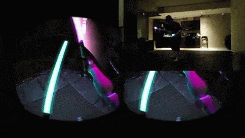 Ausschnitte aus der Demoversion 'Lightsword Experience mit der Oculus Rift und Playstation-Move-Controllern von AtomicVR.