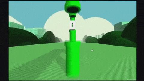 Bei Flappy Bird für Virtual Reality wird der Spieler selbst zum Vogel und klatscht alle paar Meter gegen ein Rohr.