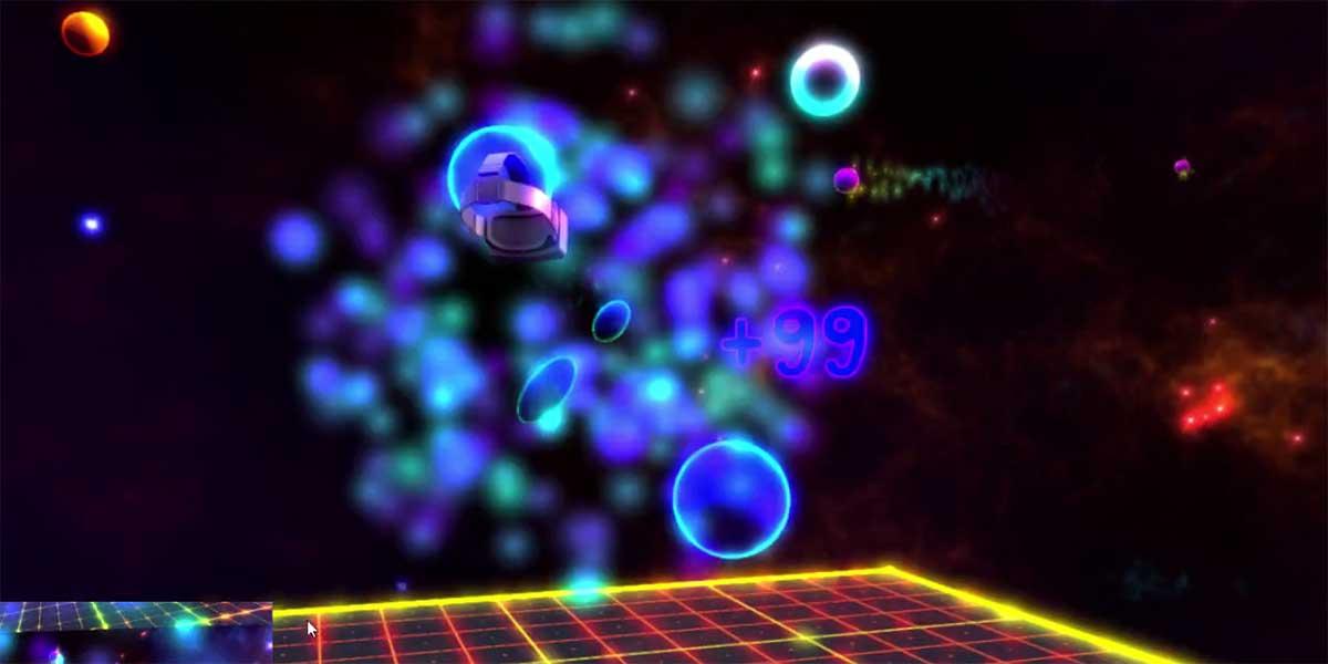 Über Farben, Formen und den passenden Rythmus tanzt sich der Nutzer durch das VR-Game Holodance.