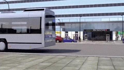 Die fahrerlosen Mini-Autos sollen in Milton Keynes zwei Personen vom Bahnhof zum Shoppingcenter fahren.