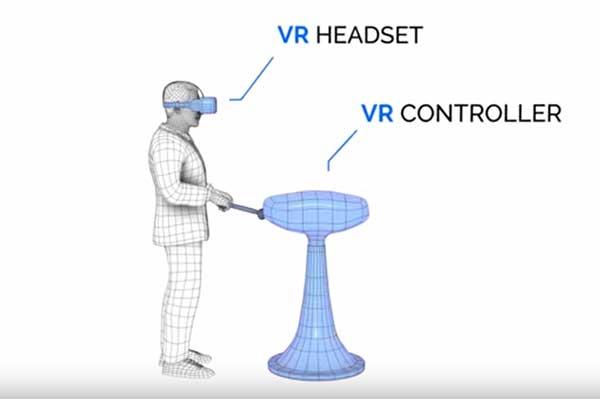 Der Simulator funktioniert mit Oculus Rift und einem Controller, der den Einkaufswagen simuliert.