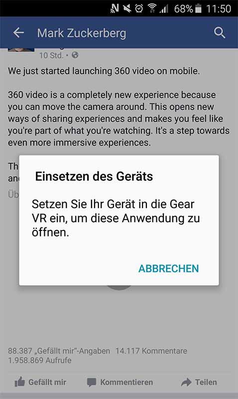 Samsung Gear VR für Facebooks 360-Videos in der Smartphone-App