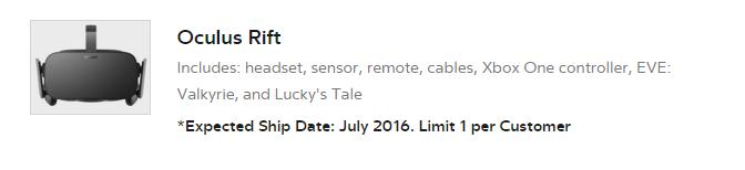 Oculus Rift ist erst ab Juli wieder verfügbar.