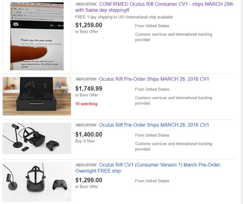 Oculus Rift CV1 wird für viel Geld bei Ebay angeboten.