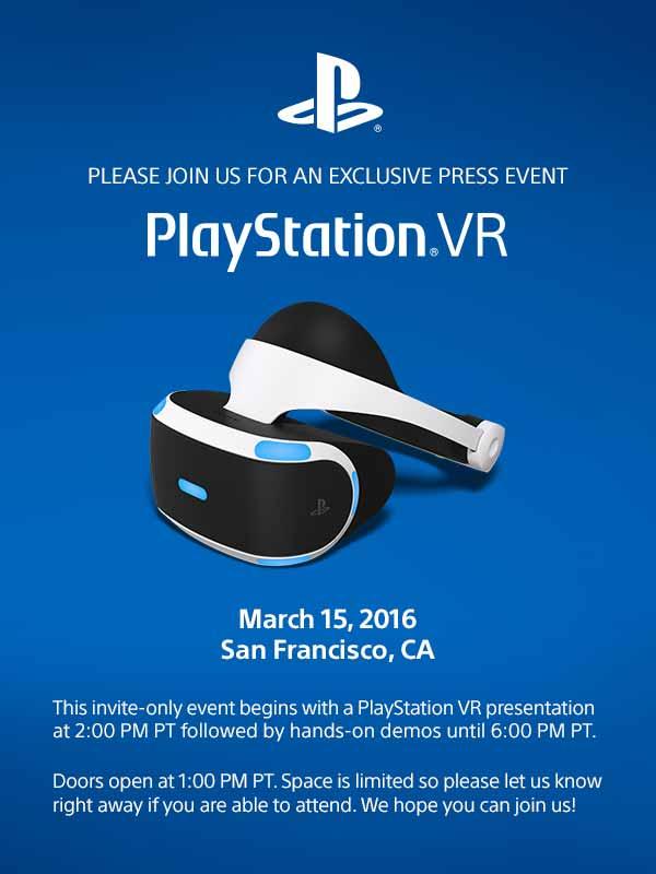 Am 15. März erfahren wir mehr zu Sonys Plänen für Playstation VR. Im Rahmen der Game Developers Conference findet ein Presseevent nur für PSVR statt.