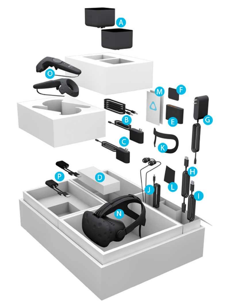 HTC Vive: Der komplette Lieferumfang. BILD: HTC
