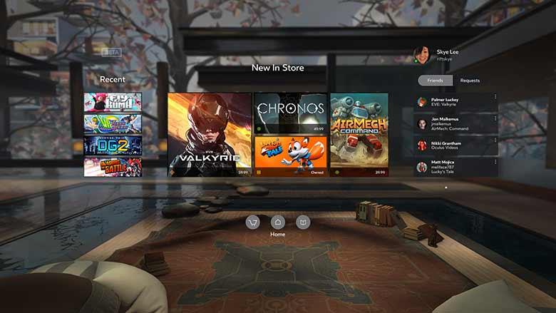 Das Betriebssystem für Oculus Rift heißt Oculus Home und kommt in einer 2D- und einer VR-Version. BILD: Oculus VR