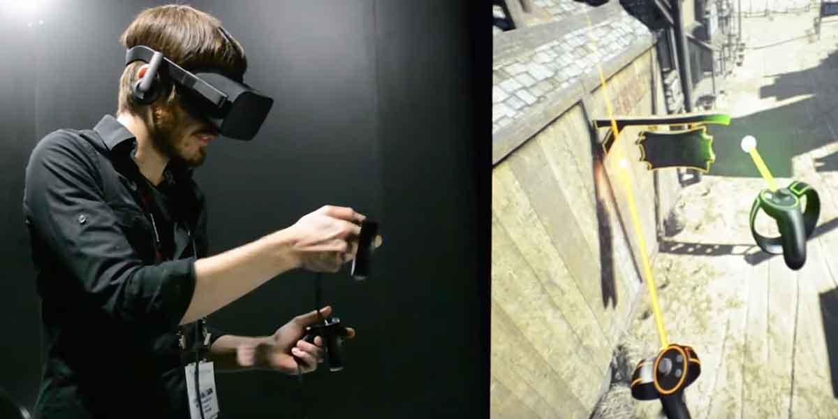 Auch mit den Touch-Controllern von Oculus Rift können Entwickler direkt im Virtual-Reality-Editor der Unreal Engine 3D-Szenen erstellen.
