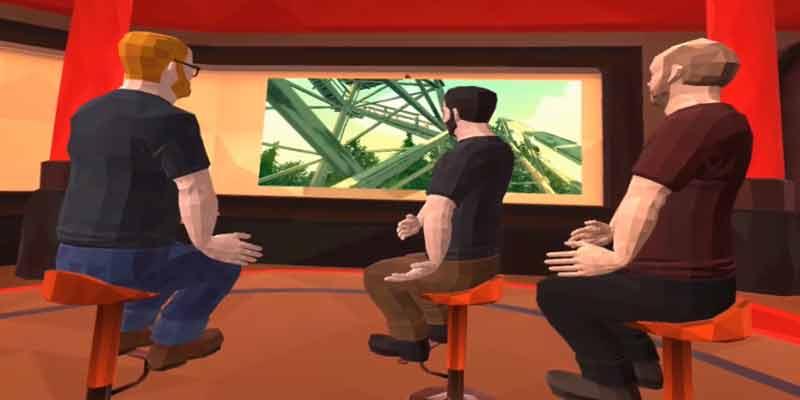 Erst sitzt man nur in der VR-Umgebung, betrachtet einen Trailer auf einem Monitor und fragt sich, was soll das hier...