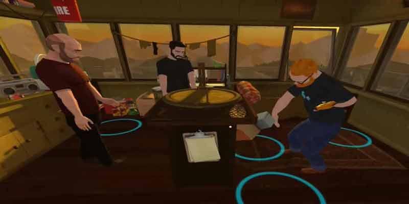 ...doch dann kommt der Schnitt und man ist gemeinsam mit den Entwicklern und dem Moderator IM Trailer, betrachtet die virtuelle Umgebung und lauscht den Erklärungen. BILD: Foo VR