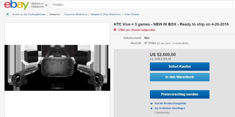 Ein echter Schnapp - 2.300 für HTC Vive. Kostet eigentlich 899 Euro. BILD: Screenshot bei Ebay