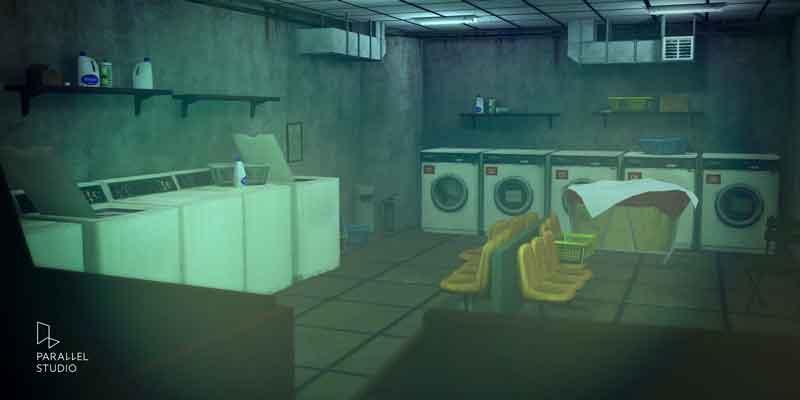 Die Szene könnte auch direkt aus Silent Hill stammen. Was wohl in der Wäschetrommel steckt? BILD: Parallel Studios