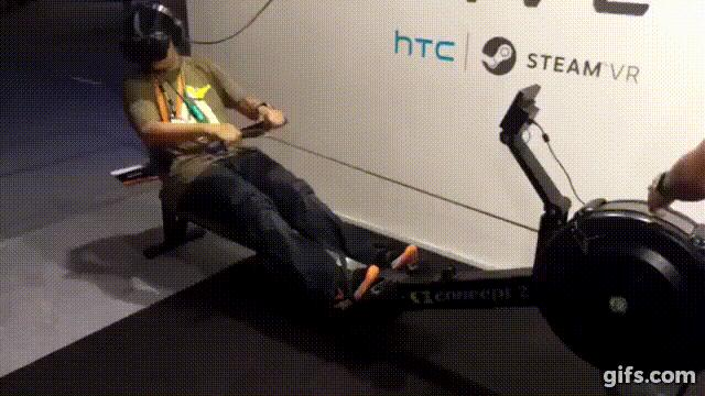 Holofit ist eine Virtual-Reality-Rudersimulation.