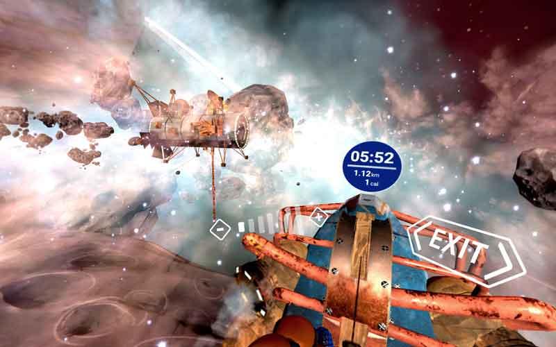 Rudern im Weltall - wieso nicht? Ist doch Virtual Reality.