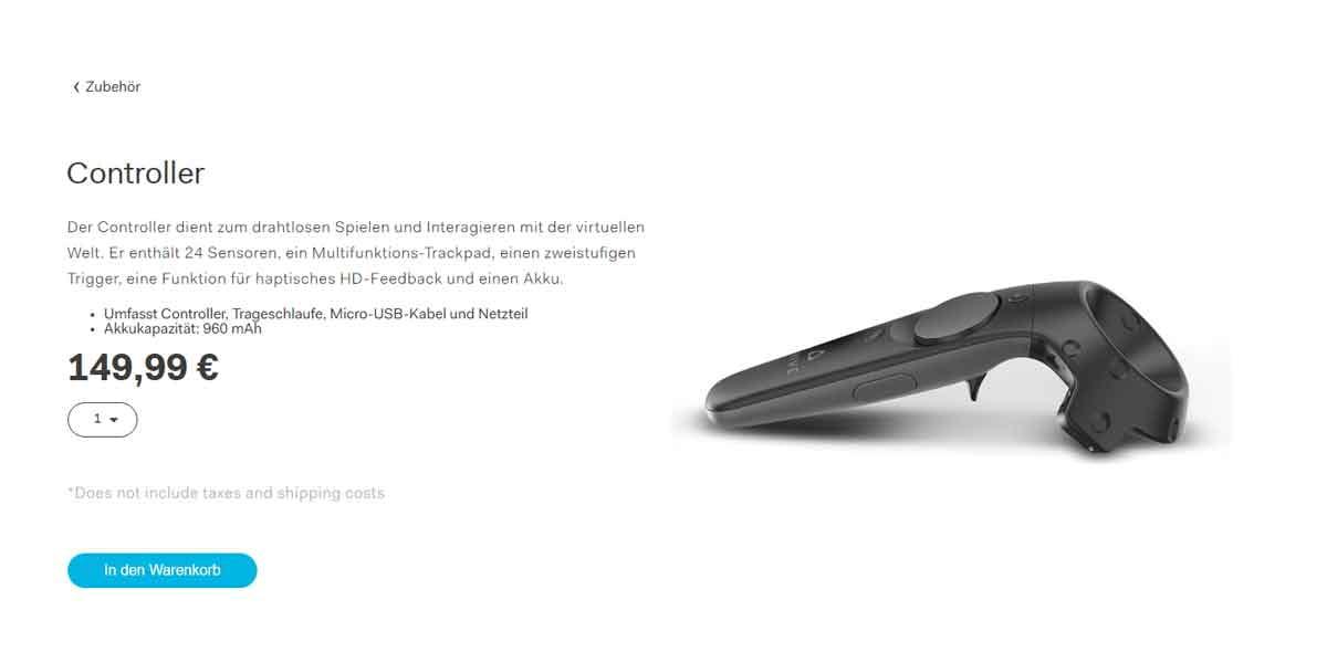 HTC eröffnet den Zubehör-Shop für HTC Vive und verlangt Mondpreise.