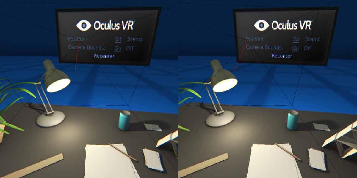 Der virtuelle Oculus-Schreibtisch ist zurück. Mit der Demo-Szene kann man das Trackingsystem optimal auf den Sitz- oder Stehplatz ausrichten.