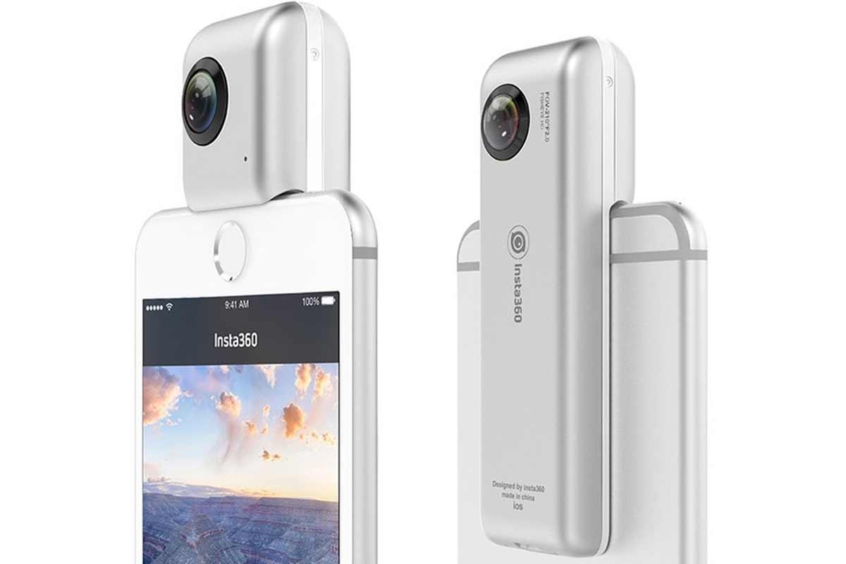 Die 360_Kamera Instant360 Nano kann auf das iPhone gesteckt werden und funktioniert so als 360-Handykamera.