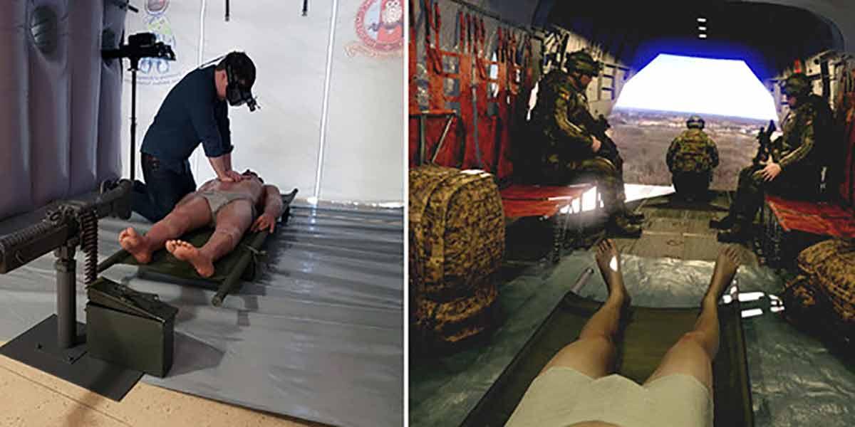 The Void für das Militär: Sanitäter sollen in Virtual Reality lernen, verletzte Soldaten in einem Hubschrauber zu versorgen.