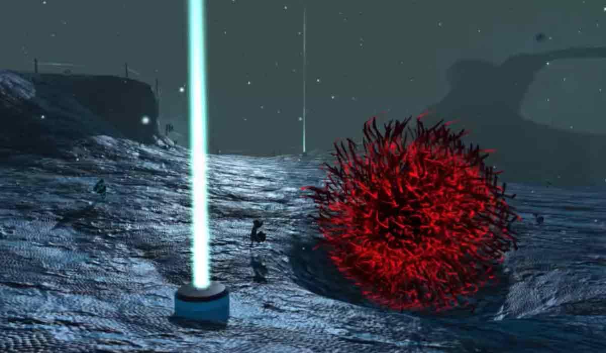 Auch wenn der erste Eindruck an einen außerirdischen Planeten erinnert: In der virtuellen Wirklichkeit steht man auf einer Brustkrebszelle.