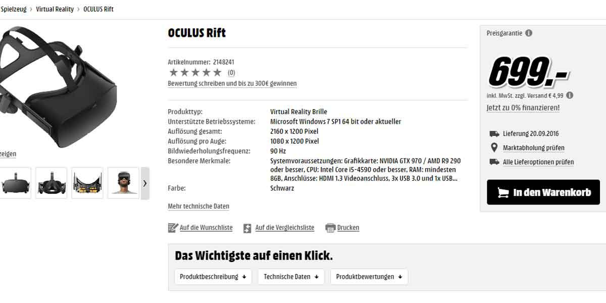 Oculus Rift: Marktstart in Deutschland am 20. September
