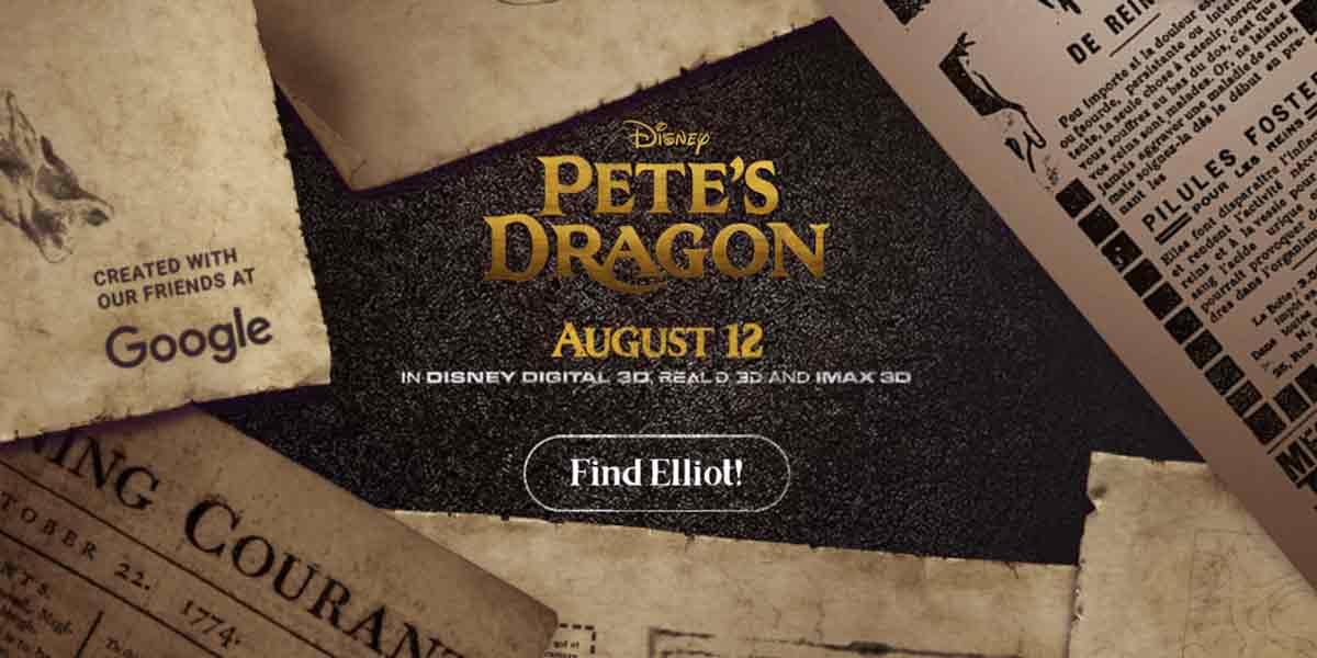 """Um den kommenden Film """"Pete's Dragons"""" zu promoten launchen Disney und Google eine neue Webseite mit integriertem Augmented-Reality-Spiel."""