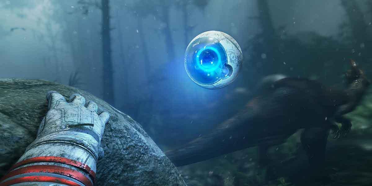 In Cryteks Robinson: The Journey für Playstation VR kämpft man sich einsam und verlassen durch den Virtual-Reality-Dschungel.