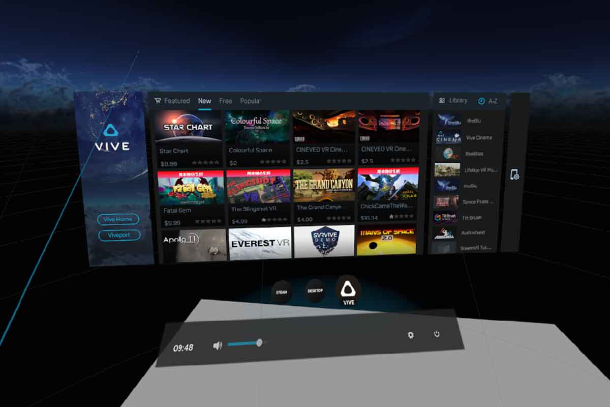 """Das Dashboard von Viveport erscheint, wenn man auf den Menüpunkt """"Vive"""" wählt. Links geht es weiter zu """"Vive Home"""" und """"Vive Port""""."""