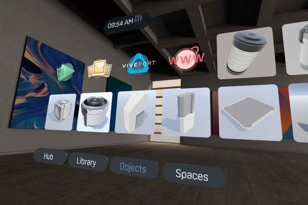 In Vive Home können Objekte ausgewählt und frei in der Umgebung platziert werden.