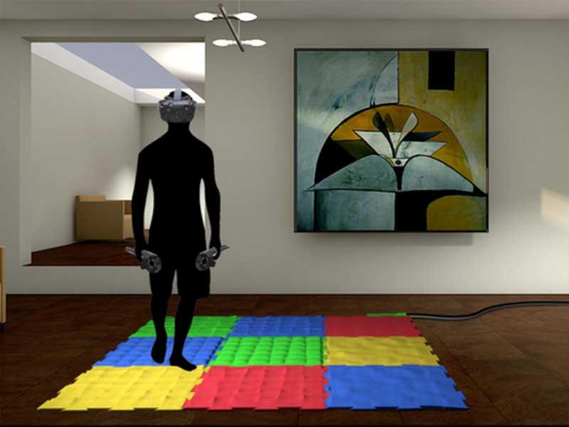 Die Matte soll passend zur VR-Anwendung den Laufuntergrund simulieren.