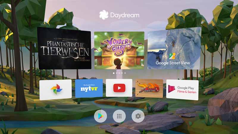 Die Storefront von Daydream kann mit dem beigelegten Controller bedient werden. Bild: Google Inc.