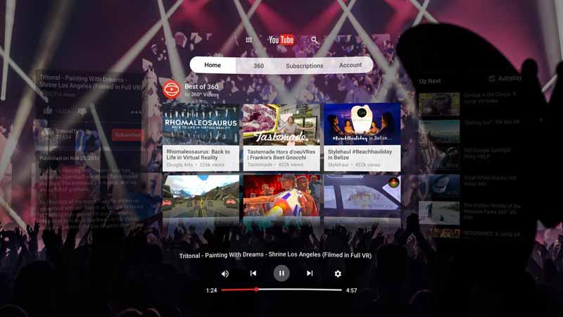 Die neue YouTube-App für Daydream ist wohl das Highlight im Launche-Lineup. Bild: Google Inc.