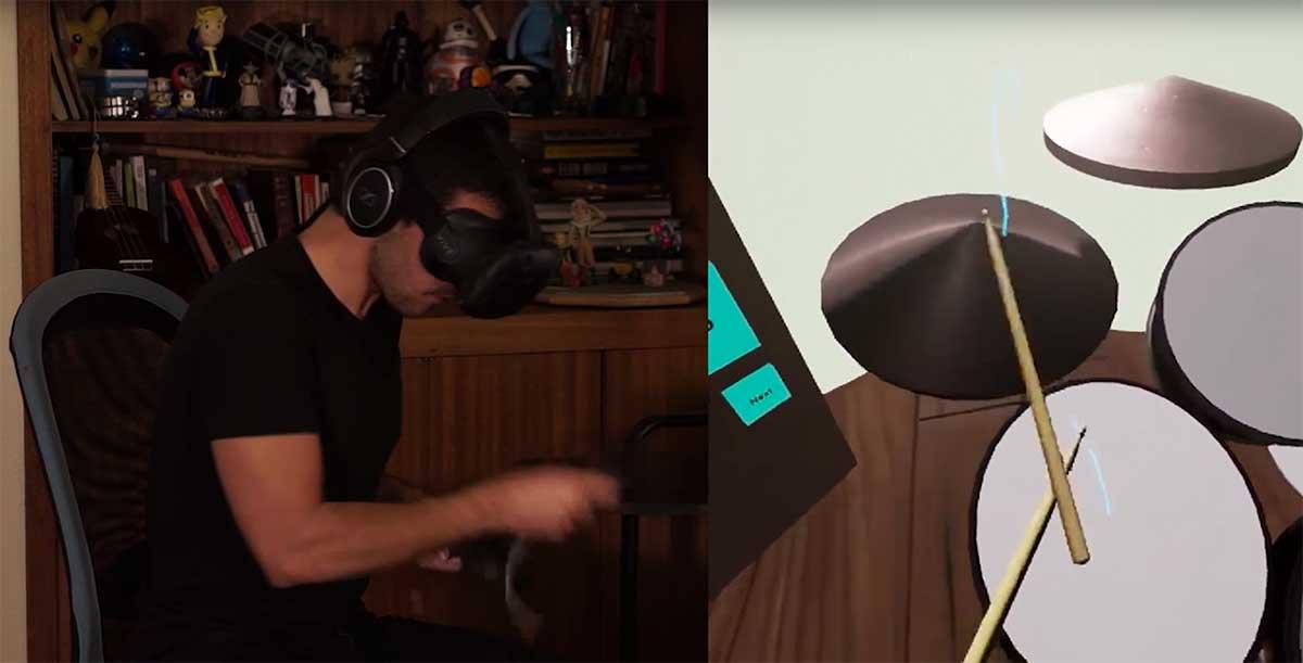 """Virtual Reality: Entwickler spielt """"Paint it Black"""" auf virtuellem Schlagzeug"""