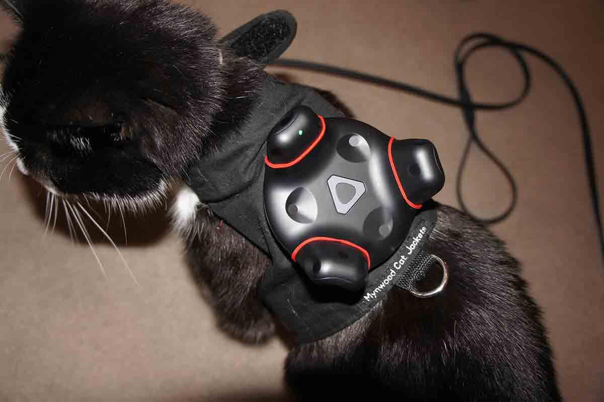 Dank Katzenjäckchen und Vive Tracker kann eine Entwicklerin unter der VR-Brille erkennen, wenn das Haustier die Gefahrenzone betritt.