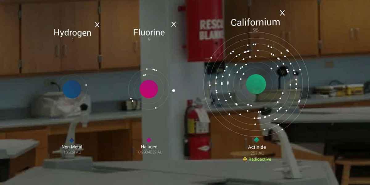 Mit Hololens wird das Periodensystem zu einer interaktiven Sandbox, in der man virtuelle Experimente durchführen und die Effekte in Echtzeit sehen kann.