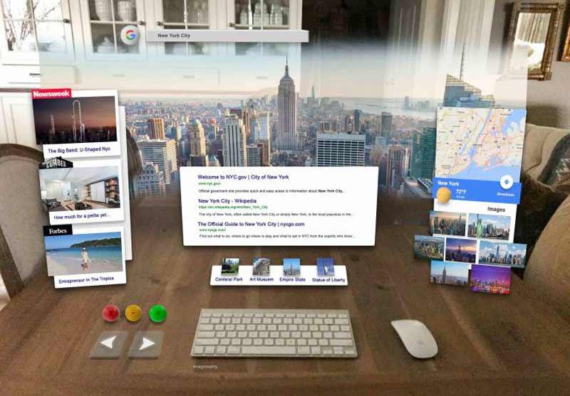 Während man im Vordergrund nach Informationen über die Stadt sucht, erscheint im Hintergrund ein 3D-Modell. Bild: Graham Atlee