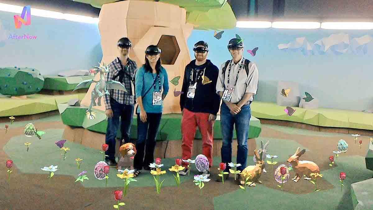 Passend zu Ostern rüstete das Unternehmen Besucher der VRLA Expo mit einer Hololens aus und schickte sie auf eine Ostereierjagd.