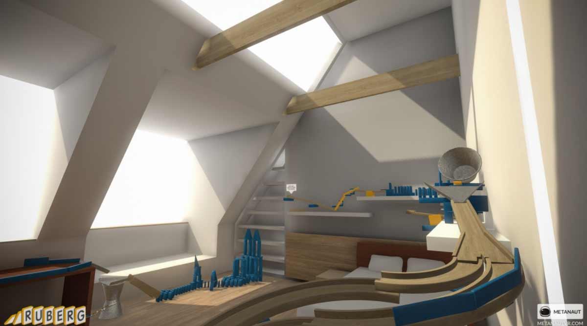 In VR könnt ihr mit HTC Vive ohne Hammer und Säge eine komplexe Rube-Goldberg-Maschine basteln.