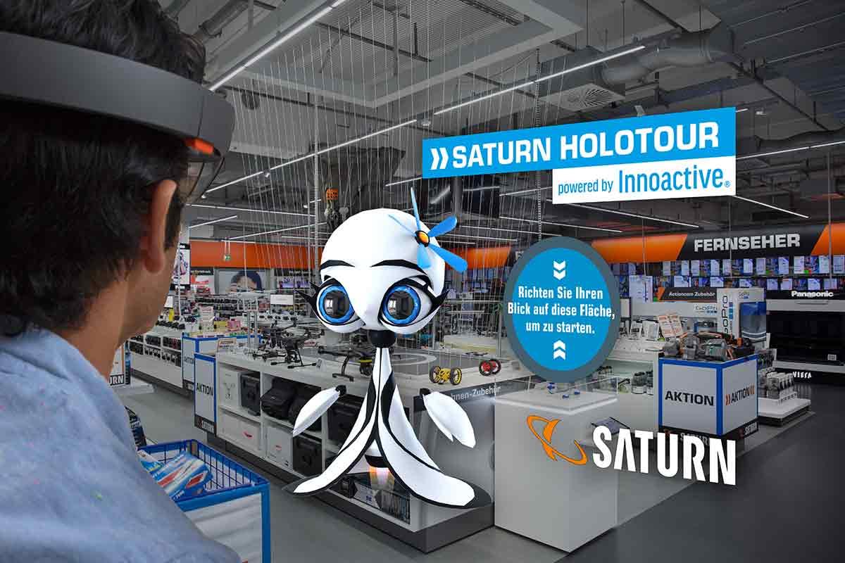"""Bis Ende Juli führt Saturns """"Holo-Tour"""" durch 20 Einkaufsläden. Kunden können mit Hololens Augmented-Reality-Shopping testen."""