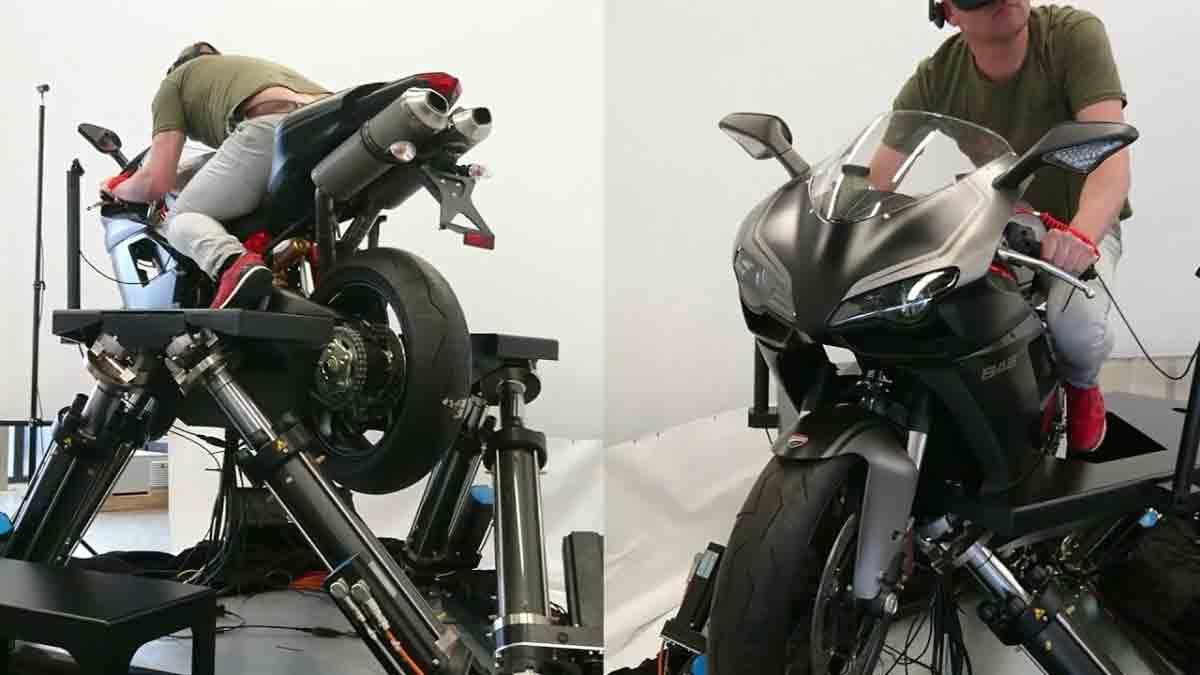 Cruden bringt einen fortschrittlichen Motorradsimulator für professionelle Anwender auf den Markt. Eine Oculus Rift ist Teil des Setups.