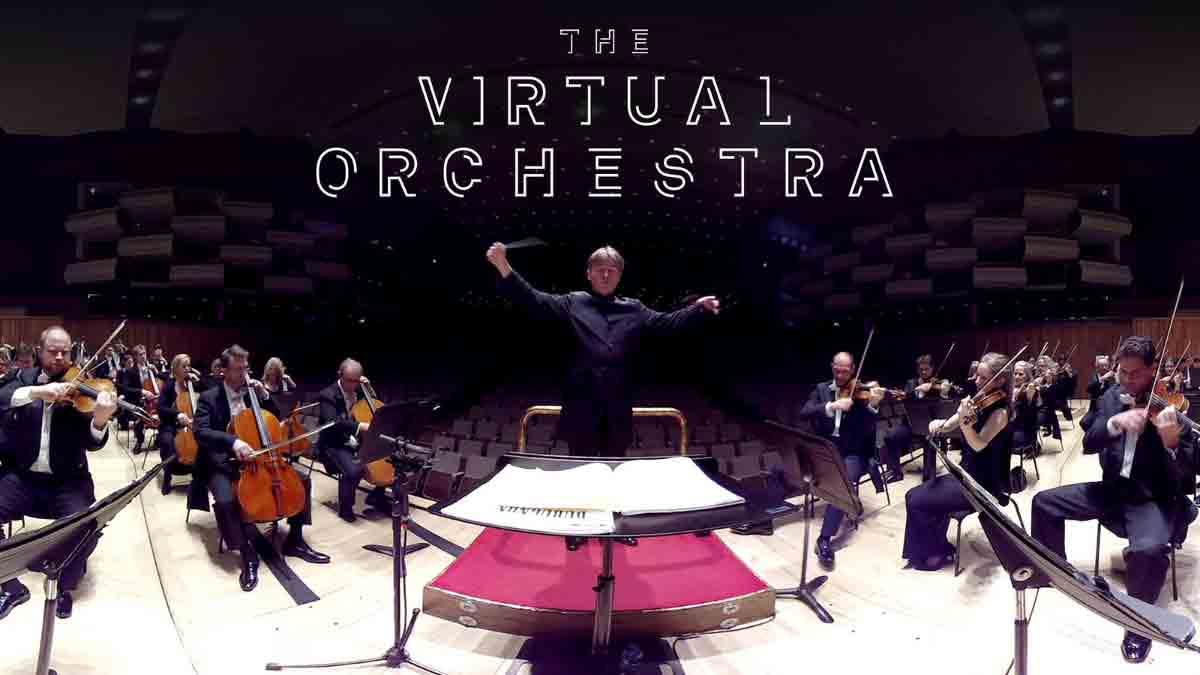 Das Philharmonia Orchestra präsentiert eine Konzerterfahrung für Virtual Reality, bei der man inmitten des Orchesters Platz nimmt.