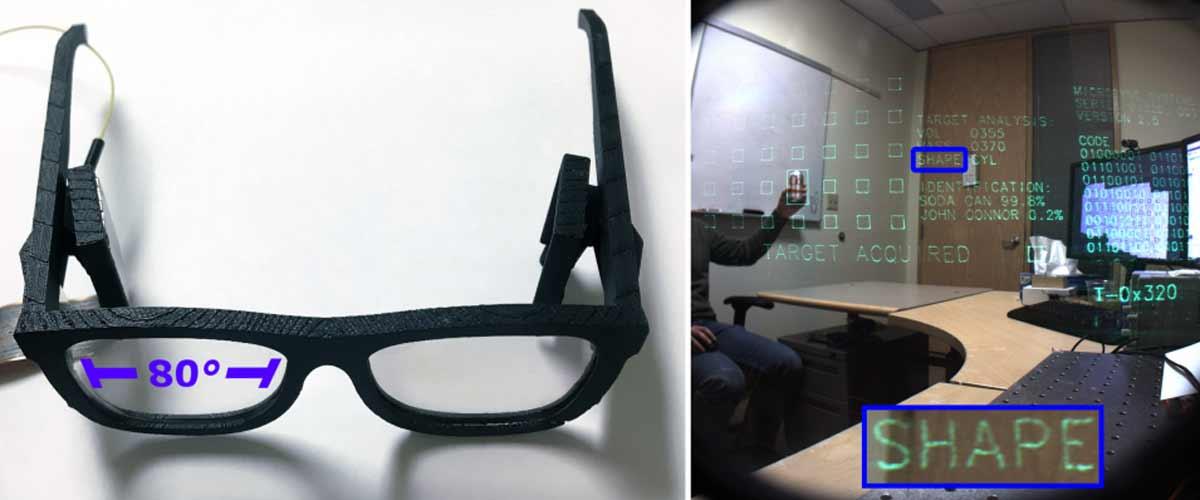Microsofts Wissenschaftler versuchen, Augmented-Reality-Funktionen in ein herkömmliches Brillengestell zu bauen.